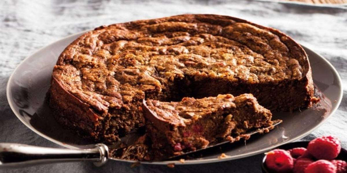 Bolo de Batata-doce, Chocolate e Framboesas